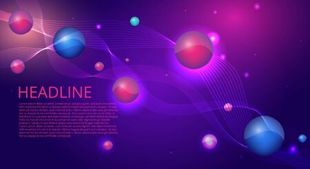 Purple blue wavy simple futuristic shiny background decoration, with primitives, supremacist and open space for text, vector illustration for web and print  Çizim