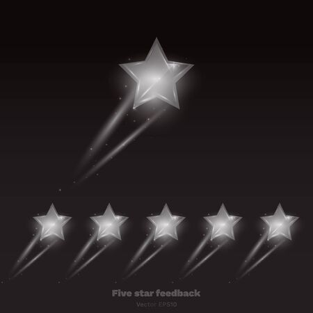 Five star shiny glass rating bright, feedback creative vector illustration winning, magic flat sign for web and print 向量圖像