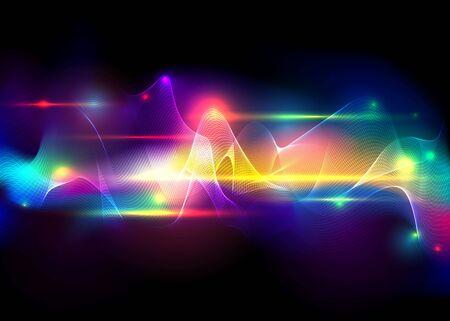 Aurora boreale brillante, astratto vettore aurora australis sfondo per web e stampa, carino astratto un display di luce naturale nel cielo.