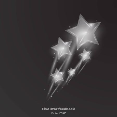 Five star shiny glass rating bright, feedback creative vector illustration winning, magic flat sign for web and print Çizim