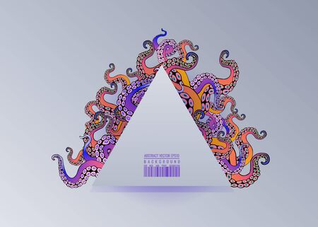 Futuristic background with colorful tentacles of an octopus frame, ocean motive flat cute cartoon illustration for web and print, cute decoration.