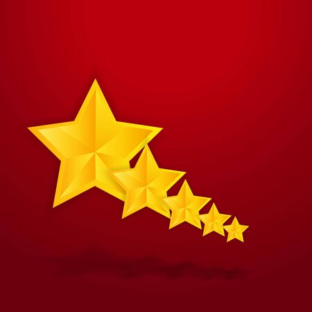 Five star golden rating, feedback creative vector illustration winning, for web and print decoration stars on silver background