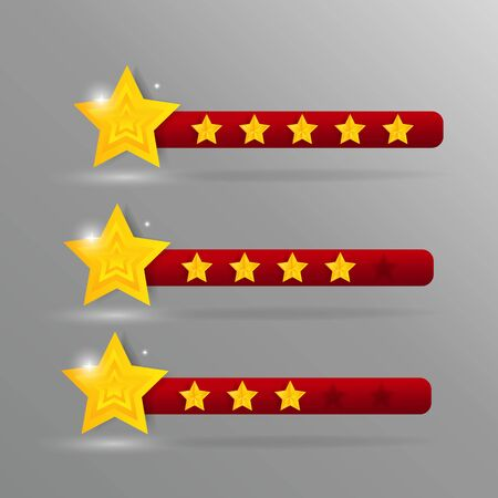 User feedback voting symbols from zero to five points. Creative star rating elements set for ranking interface, web or mobile user judgment, assessment rating bar