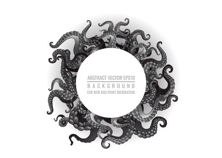 Futuristic background with black and white tentacles of an octopus frame, ocean motive flat cute cartoon illustration for web and print, cute decoration.  Ilustrace
