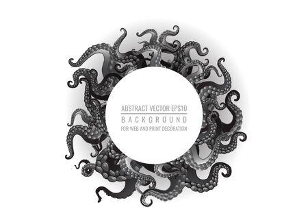 Sfondo futuristico con tentacoli in bianco e nero di una cornice di polpo, illustrazione di cartone animato piatto carino motivo oceano per web e stampa, decorazione carina.