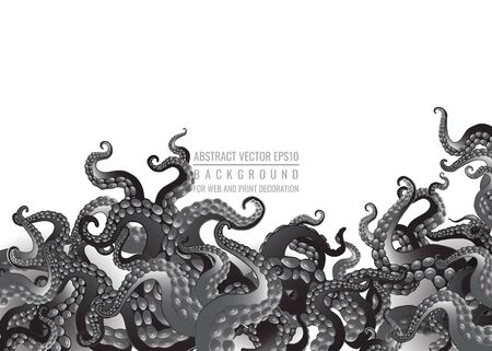 Futuristic background with black and white tentacles of an octopus frame, ocean motive flat cute cartoon illustration for web and print, cute decoration.  Çizim