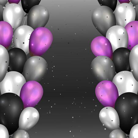 Realistische vector ballonnen achtergrond voor web en print decoratie, gouden zwarte en zilveren luxe illustratie.