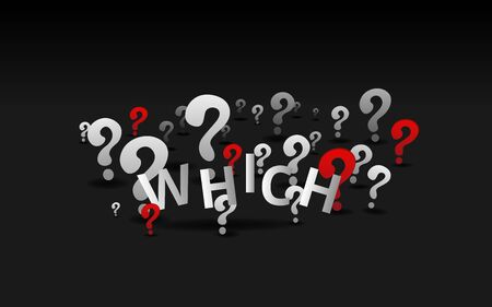 Question signs which word, FAQ  help. problem solve  realistic vector illustration of ask question mark, 3d shapes.