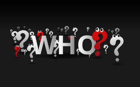 Question signs and Who word , FAQ  help. problem solve  realistic vector illustration of ask question mark, 3d shapes.