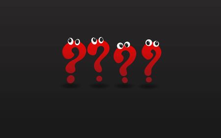 Red question signs with eyes, FAQ  help. problem solve  realistic vector illustration of ask question mark, 3d shapes.   向量圖像