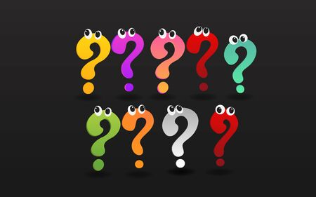 Set of colorful question signs with eyes, FAQ  help. problem solve  realistic vector illustration of ask question mark, 3d shapes.