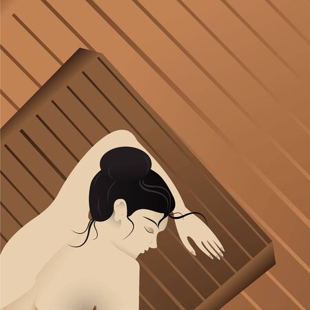 Woman on sauna bed, spa therapy, relaxation with wood spa. Creative realistic beautiful young lady elegant vector illustration for web and print, healthy lifestyle.