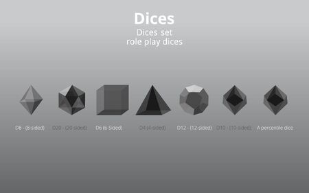 Set of transparent realistic  DIY d20 dices, rpg game realistic template for web and print fantasy world session, geek culture supplies , game master destiny check. 3d primitive figures