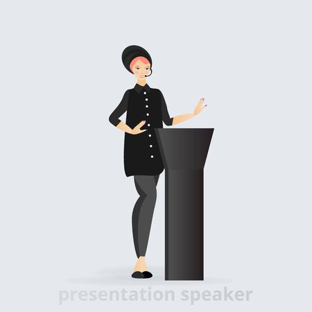 Cartoon beautiful smiling Woman speaker giving speech from tribune  business lady, vector illustration, leadership trait, professional presenting  character feminism 矢量图像