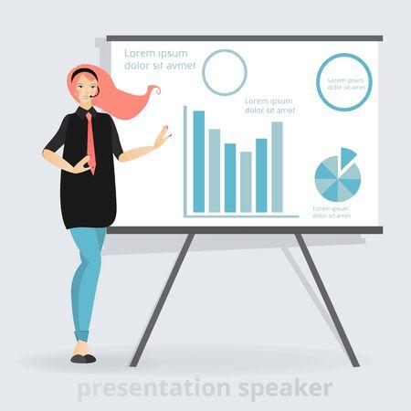Belle femme souriante, orateur de présentation près du tableau avec graphiques, femme d'affaires. Illustration vectorielle de personnage de dessin animé, présentation professionnelle. Femme qui travaille.