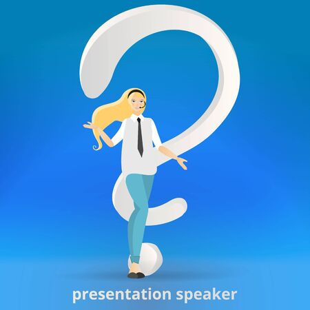 Beautiful woman with question sign, giving help, FAQ cartoon  vector illustration, answers and questions decoration. Leadership trait, professional presenting  character feminism  イラスト・ベクター素材