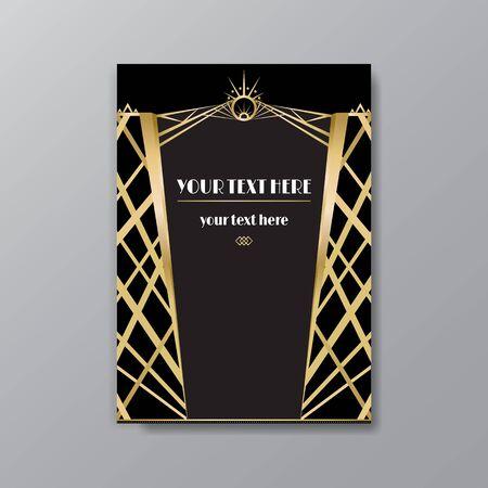 Modello di pagina Art Déco, stile retrò per web e stampa, città e motivo di luci con linee dorate. Design moderno per menu o flyer, lusso delicato