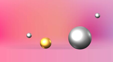Golden and silver metallic 3D primitives, realistic geometric vector illustration for web and print decoration, elegant motion figures of pink empty space, luxury trendy creative design