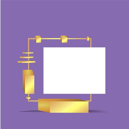 Metallic golden stage with floating geometrical forms, square with paper platform, realistic minimal background, 3d scene on purple color for product presentation or mockup. Vector Illustration