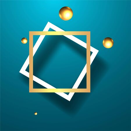 Metallic golden frame with floating geometrical forms, round platform, realistic minimal background, 3d luxury scene for product presentation or mockup. Vector Illustration Illustration