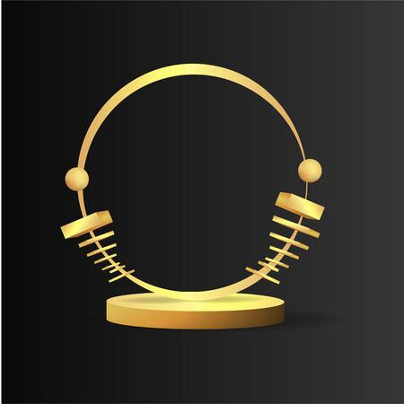 Metallic golden stage with floating geometrical forms, round platform, realistic minimal background, 3d luxury scene on black for product presentation or mockup. Vector Illustration