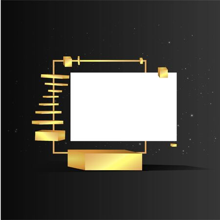 Metallic golden stage with floating geometrical forms, square with paper platform, realistic minimal background, 3d scene on black color for product presentation or mockup. Vector Illustration