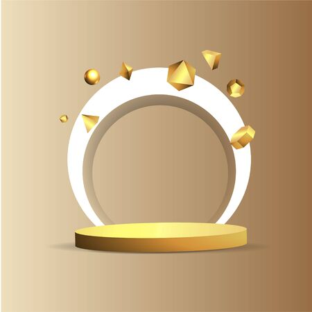 Metallic golden stage with floating geometrical forms, round platform, realistic minimal background, 3d luxury scene on beige mocha wall for product presentation or mockup. Vector Illustration Illustration