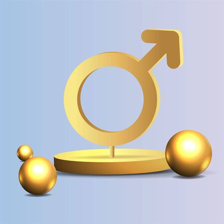 3d golden realistic gender women and man symbols, with flying geometric figures creative design of female and male metallic signs. Vector illustration