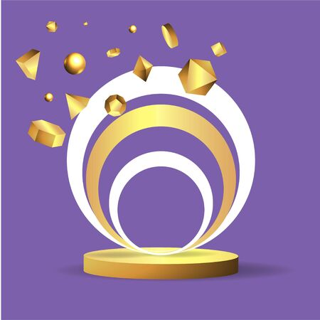 Metallic golden stage with floating geometrical forms, round platform, realistic minimal background, 3d scene on light purple color for product presentation or mockup. Vector Illustration