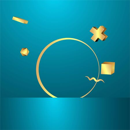 Metallic golden round frame with floating geometrical forms, realistic minimal background, 3d luxury scene on deep ocean blue for product presentation or mockup. Vector Illustration