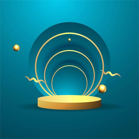 Metallic golden stage with floating geometrical forms, round platform, realistic minimal background, 3d scene in deep ocean blue color for product presentation or mockup. Vector Illustration