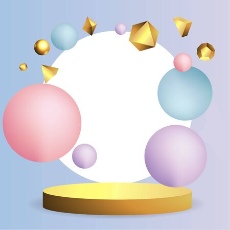 Metallic golden stage with floating geometrical forms, round platform, realistic minimal background, 3d luxury scene on pink and baby blue for product presentation or mockup. Vector Illustration