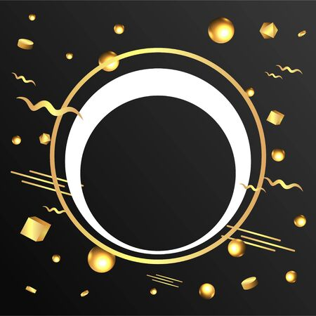 Metallic golden round frame with floating geometrical forms, realistic minimal background, 3d luxury scene on black for product presentation or mockup. Vector Illustration Illustration