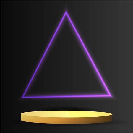 Metallic golden stage with floating geometrical forms and glow neon light, round platform, realistic minimal background, 3d luxury frame scene for product presentation or mockup. Vector Illustration 일러스트