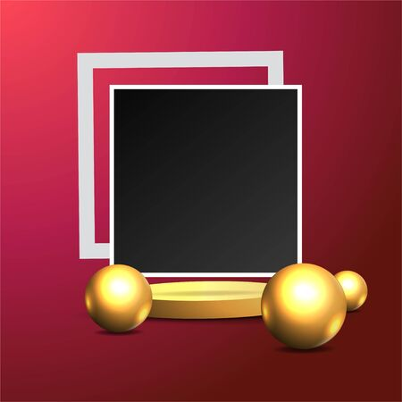 Metallic golden stage with floating geometrical forms and round platform, realistic minimal background, 3d luxury frame scene for product presentation or mockup. Vector Illustration Illustration
