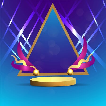 Metallic golden stage with floating geometrical forms and glow neon light, round platform, realistic minimal background, 3d luxury frame scene for product presentation or mockup. Vector Illustration Illustration