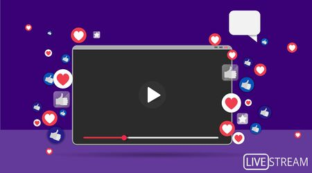 Video screen play button, Streaming preview template, 3d with likes and hearts, happy live, social media concept with media icons, chat box and , creative design, cute multimedia  vector