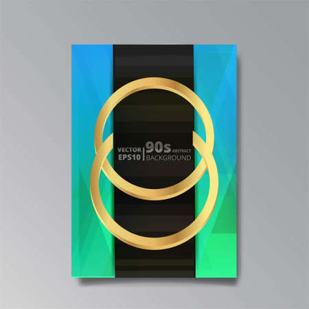Abstract elegant luxury background, two gold rings, chain, golden jewelry, on geometric mosaic pattern. Fashioned brilliance splendor, 3d effect, flayer, invitation, banner, cover design template