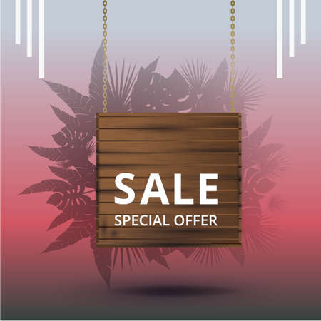 Sale banner with tropical palm leafs, trendy realistic sale background with bokeh lights, exotic special offer advertising, creative poster. Elegant inscription and lush foliage of exotic jungle tree.