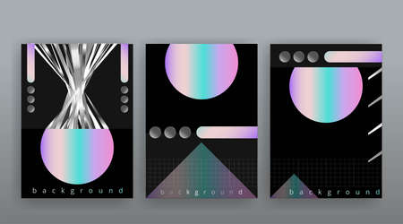 Abstract page templates set, retro wave creative hipster, neon and gradient colors. Stylish geometric creative futuristic cover, 90s style, realistic rainbow sheen, banners set, fluid modern design