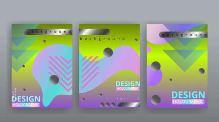 Abstract page templates set, retro wave creative hipster, neon and gradient colors. Stylish geometric creative futuristic cover, 90s style, realistic rainbow sheen, banners set, fluid modern design Illustration