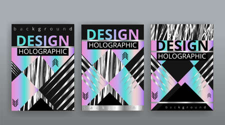 Holographic abstract page templates set, retro wave glitch creative hipster neon and pastel gradient colors. Stylish geometric glitch cover, 90s style, realistic rainbow sheen silver tape chrome vinyl