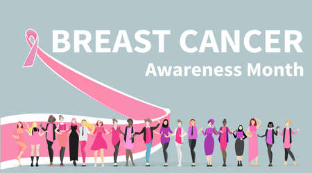 October Breast cancer Awareness month with pink ribbon poster design. Vector template