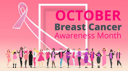 October Breast cancer Awareness month with pink ribbon poster design.many ladies standing together, female support, sisterhood Vector template