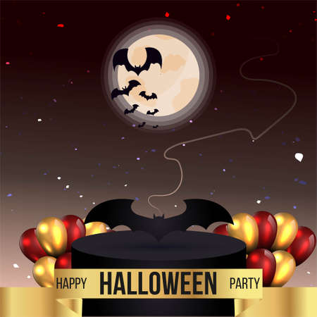 Halloween sale or party event with bats and full moon