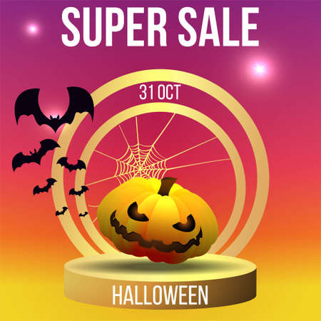 Halloween sale or party event with pumpkin