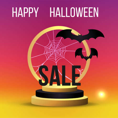 Halloween sale or party event with bats and golden stage 向量圖像