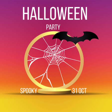 Halloween sale or party event with bats and golden stage Illustration