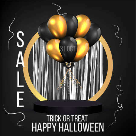 Halloween sale or party event with balloons and golden podium