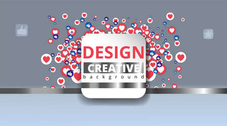 Abstraction with likes and hearts, Streaming preview template, 3d love, happy live, social media concept with media icons, chat box and, creative design, cute multimedia vector